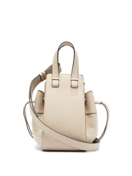 Loewe - Hammock Small Linen-panel Leather Bag - Womens - Grey