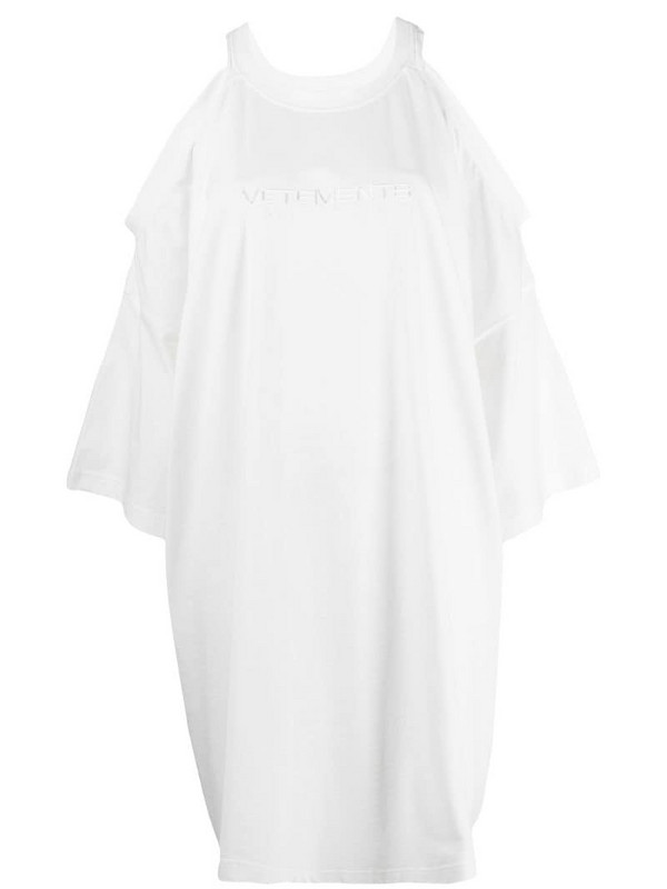 Vetements embroidered logo T-shirt dress in white