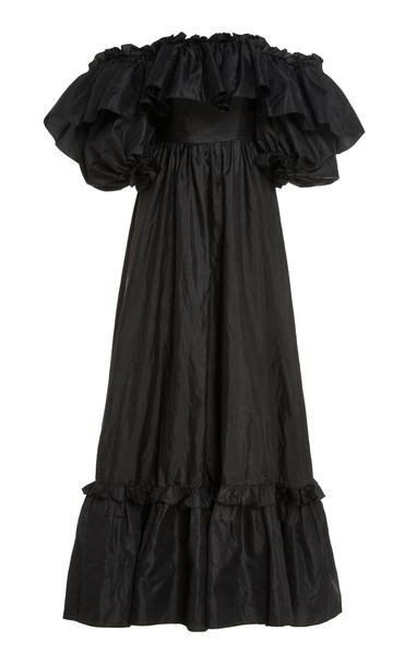LoveShackFancy Tara Off-The-Shoulder Ruffled Taffeta Gown Size: 00 in black