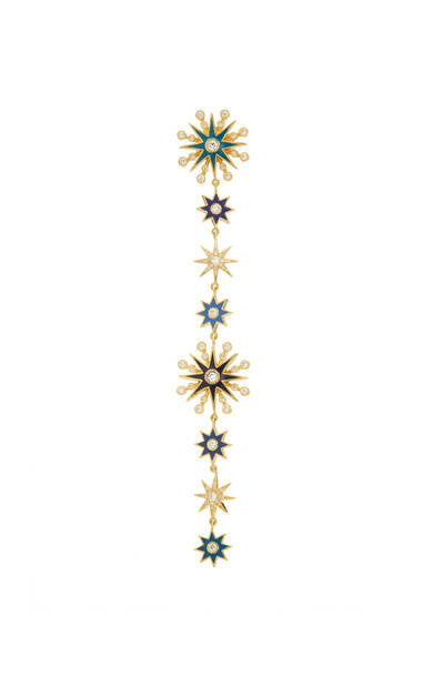 Colette Jewelry Chameleon 18K Gold Enamel and Diamond Single Earring in multi