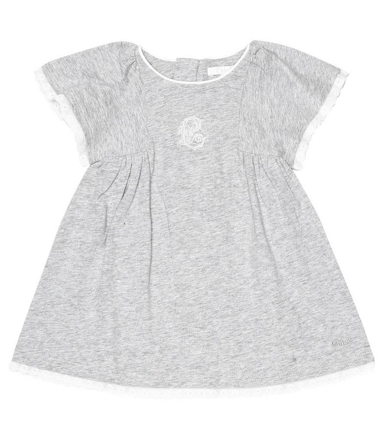 Chloé Kids Baby cotton dress in grey