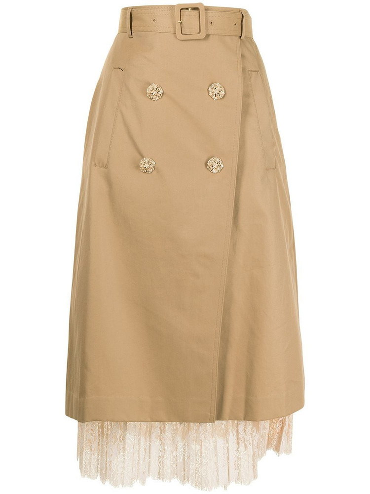 BAPY BY *A BATHING APE® BAPY BY *A BATHING APE® floral-lace detail trench skirt - Green