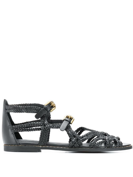 See by Chloé woven strappy sandals in black