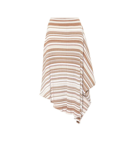 JW Anderson Striped wool skirt in brown