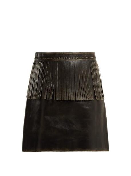 Miu Miu - Fringe Trimmed Leather Mini Skirt - Womens - Black