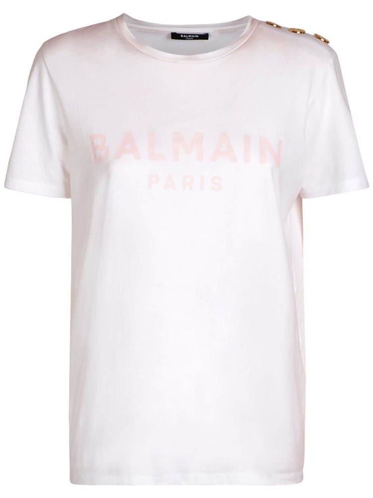 BALMAIN Logo Printed Organic Cotton T-shirt in pink / white