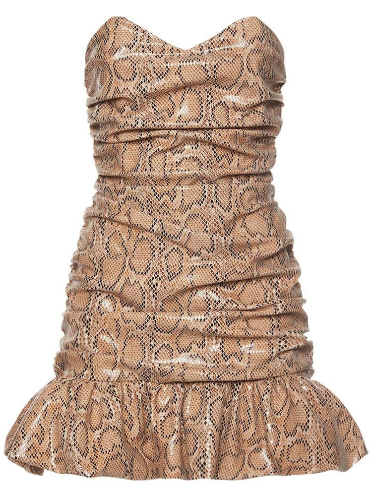 GIUSEPPE DI MORABITO Python Print Strapless Mini Dress in beige
