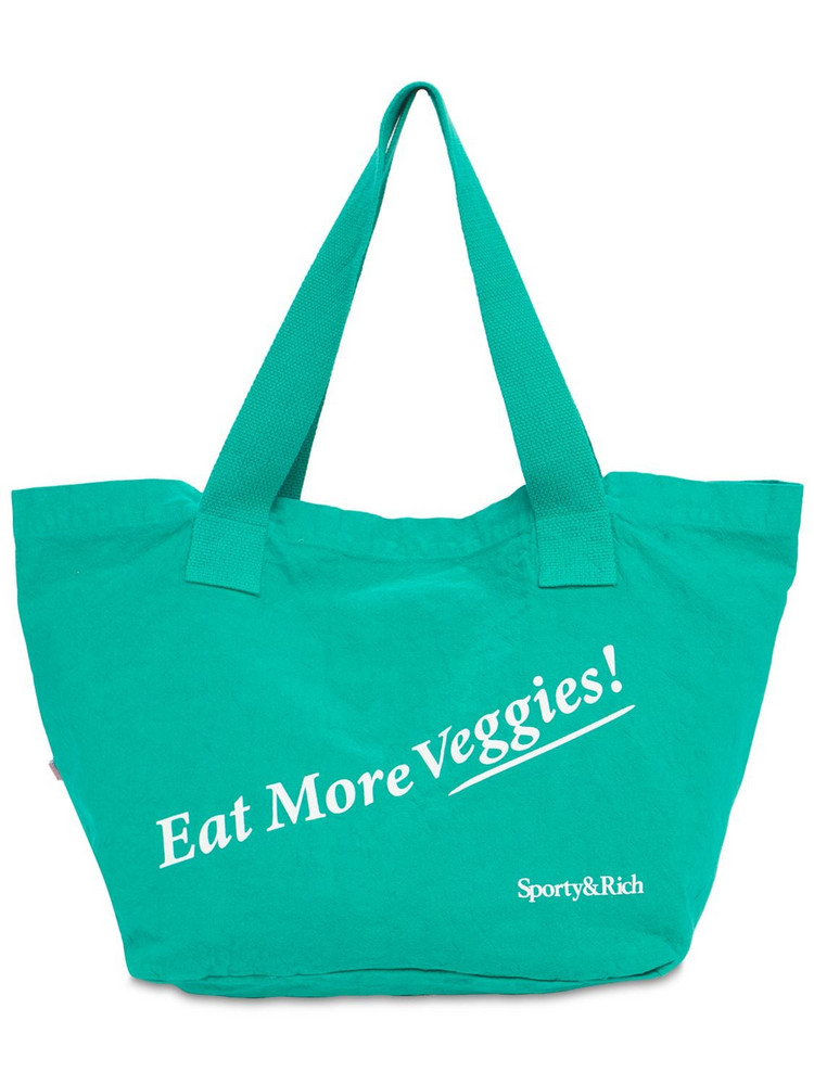 SPORTY & RICH Eat Veggies Cotton Tote Bag in green