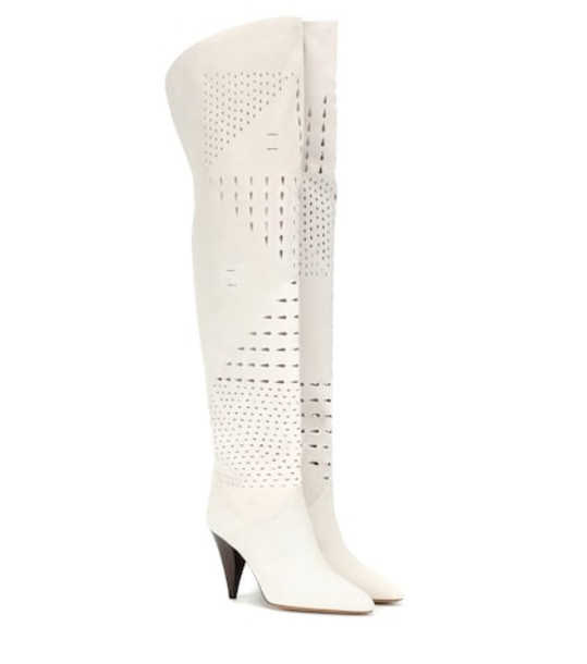 Isabel Marant Lyde suede over-the-knee boots in white