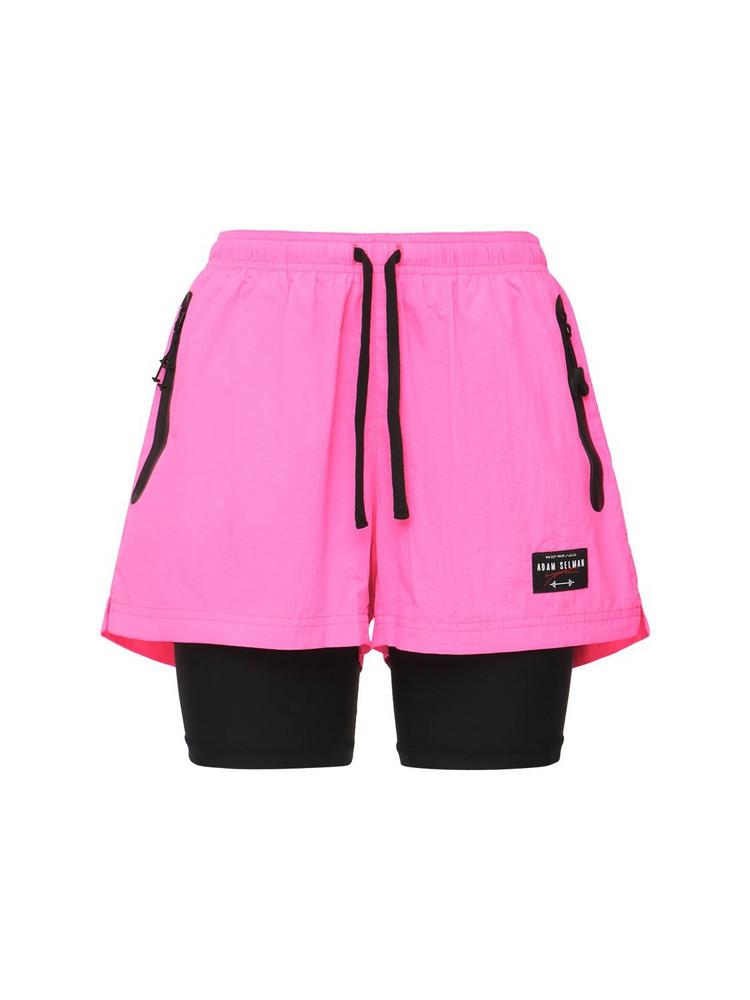 ADAM SELMAN SPORT Combo Gym Shorts in fuchsia