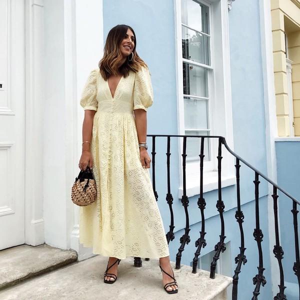dress midi dress v neck dress short sleeve dress black sandals handbag