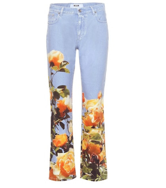 MSGM Mid-rise printed jeans in blue
