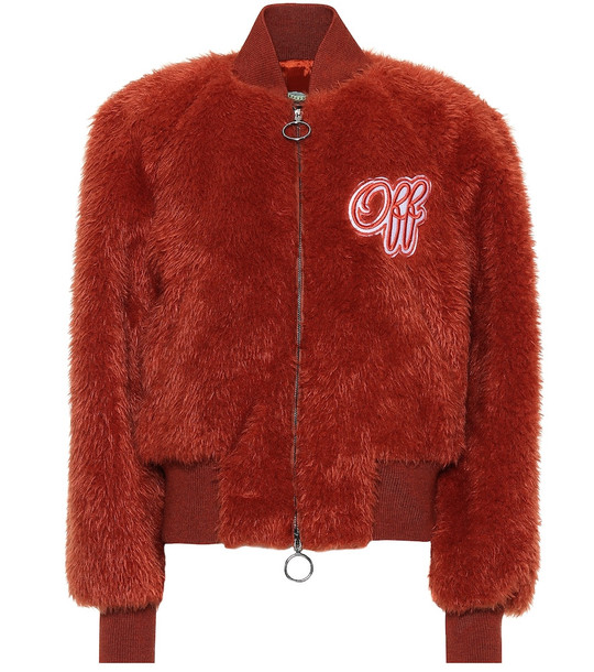 Off-White Embroidered faux fur bomber jacket in brown