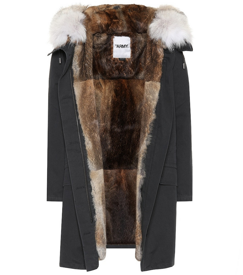 Yves Salomon - Army Fur-trimmed cotton parka in blue