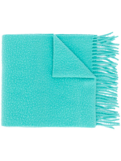 Acne Studios pilled wool fringed scarf in blue