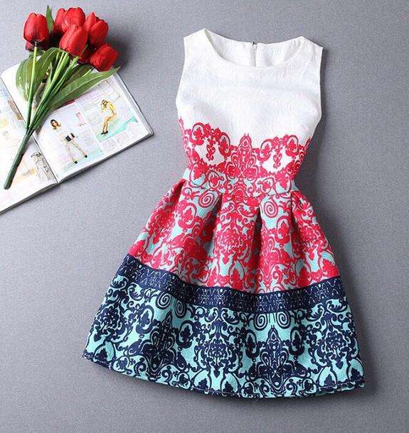 dress white red blue short dress summer cute