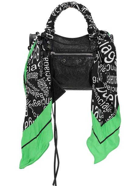 BALENCIAGA Mini City Printed Silk Scarf Leather Bag in black