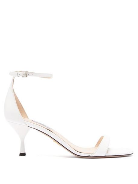 Prada - Patent Leather Kitten Heel Sandals - Womens - White