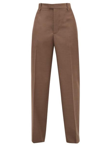 Bottega Veneta - High-rise Wool Wide-leg Trousers - Womens - Light Brown
