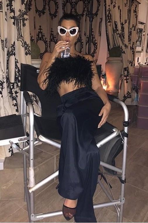 top feathers feather top kourtney kardashian kardashians black crop tops pants sunglasses high waisted