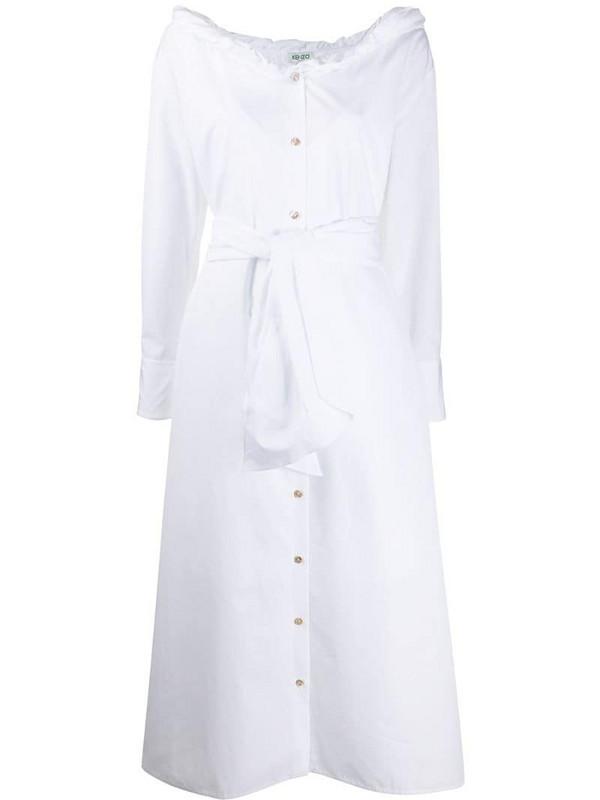 Kenzo tie-waist button-through midi dress in white