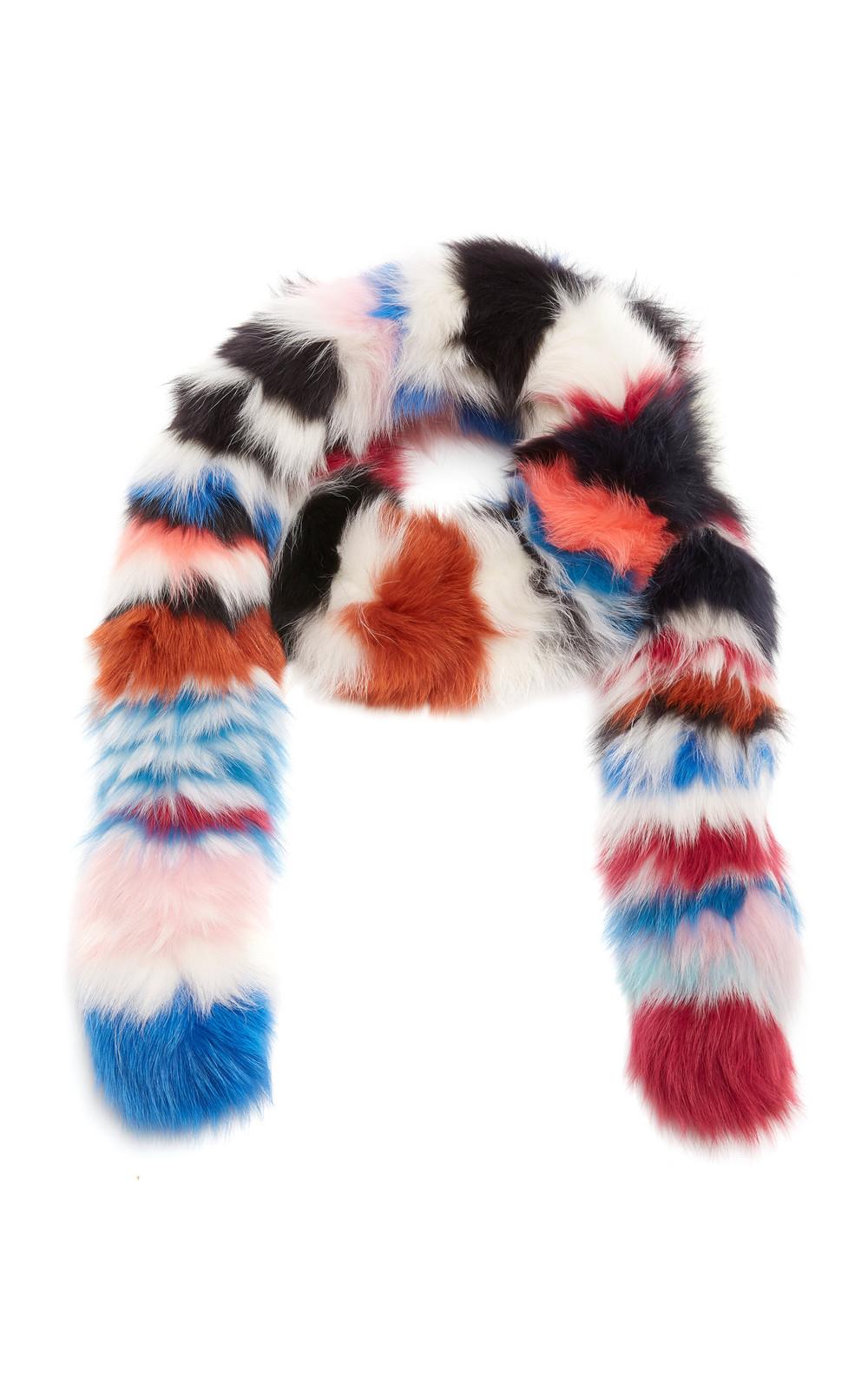 Charlotte Simone Chunky Monkey Fur Scarf in multi