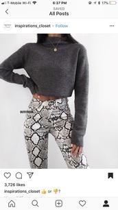 pants,snake skin,snake print,black,white,grey
