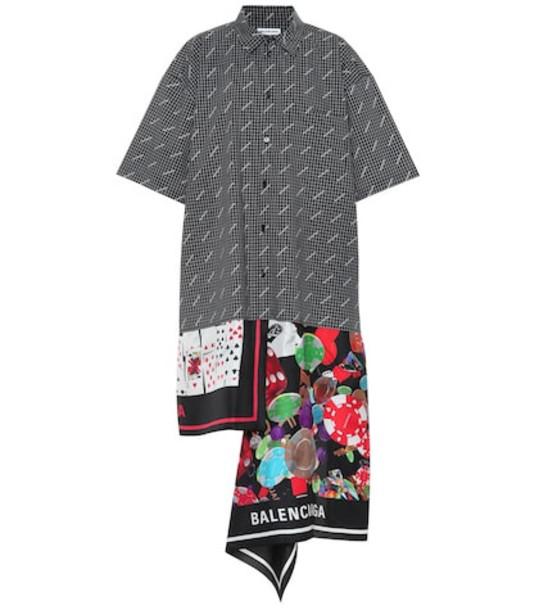 Balenciaga Cotton and silk shirt dress in black