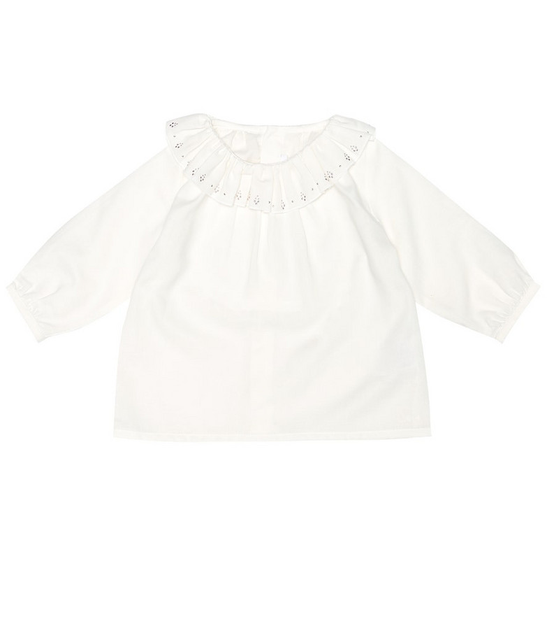 Chloé Kids Baby embellished cotton top in white