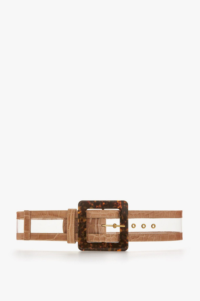 Staud WIDE BELT | PVC CAMEL CROC TORTOISE RESIN