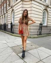 dress,mini dress,floral dress,pull and bear,short sleeve dress,black boots,ankle boots,red bag