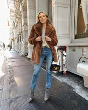 coat,brown coat,faux fur coat,balenciaga,plaid,heel boots,denim,jeans,bag,top,earrings