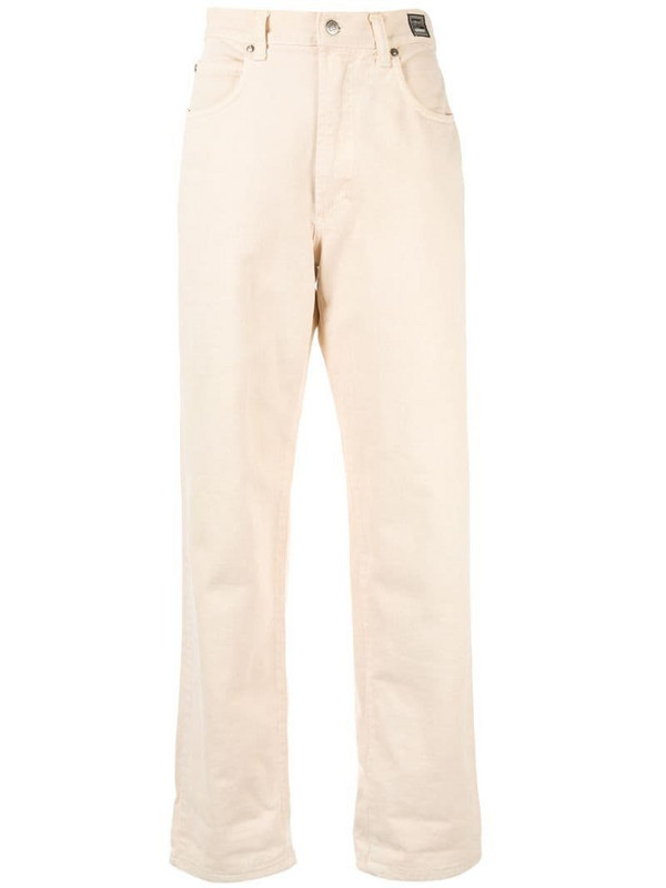 Versace Pre-Owned high rise straight-fit jeans in neutrals