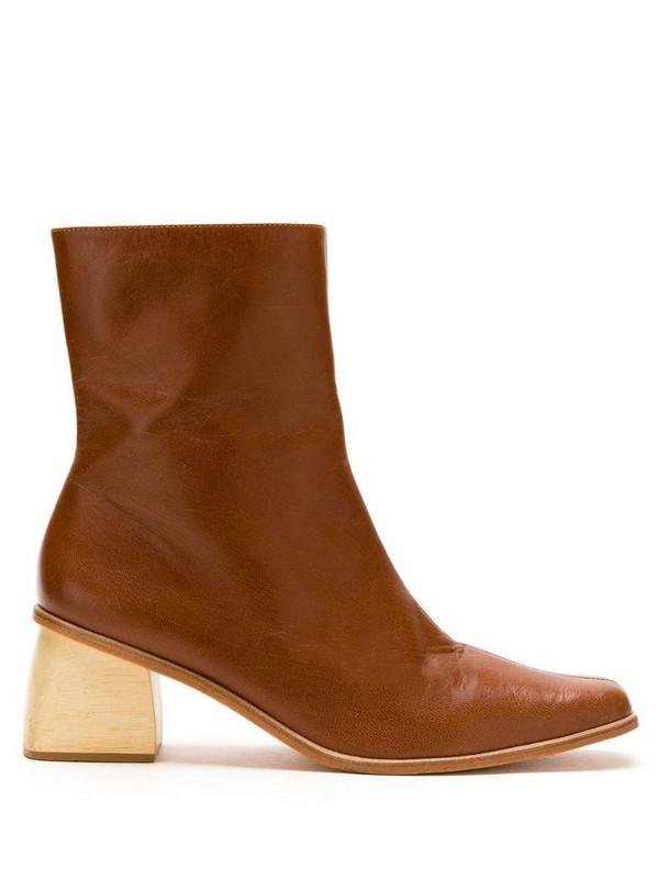 LE SOLEIL D'ETE leather Lena boots in brown