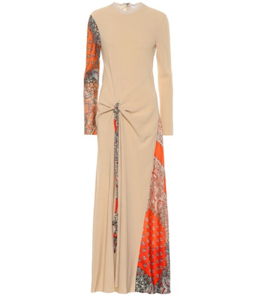 Chloé Crêpe and silk-twill maxi dress in beige