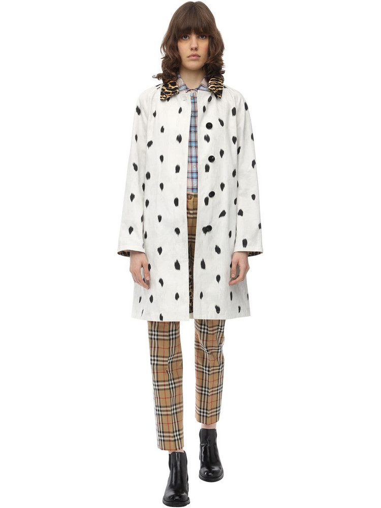 BURBERRY Long Printed Cotton Canvas Coat