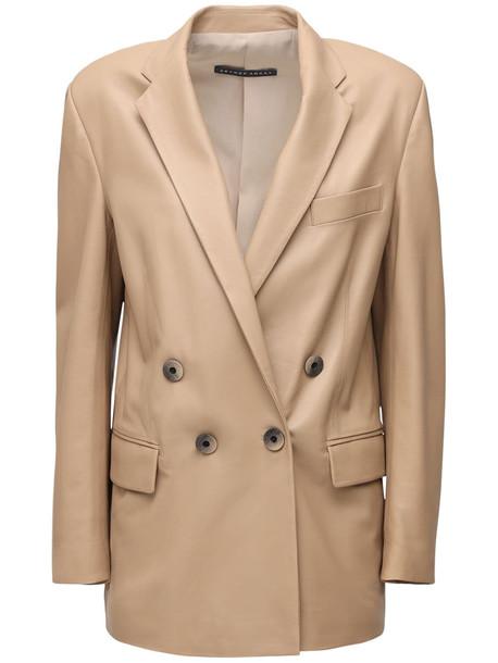 ZEYNEP ARCAY Gem Leather Jacket in beige