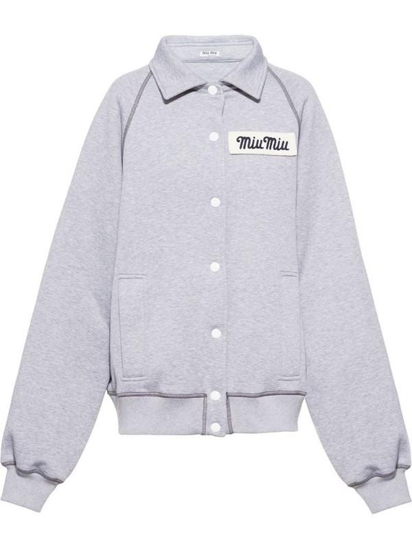 Miu Miu Club bomber jacket in grey