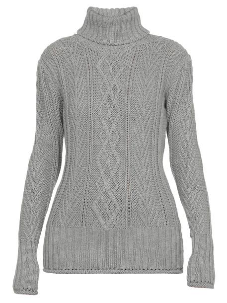 Thom Browne Aran Cable Sweater in grey
