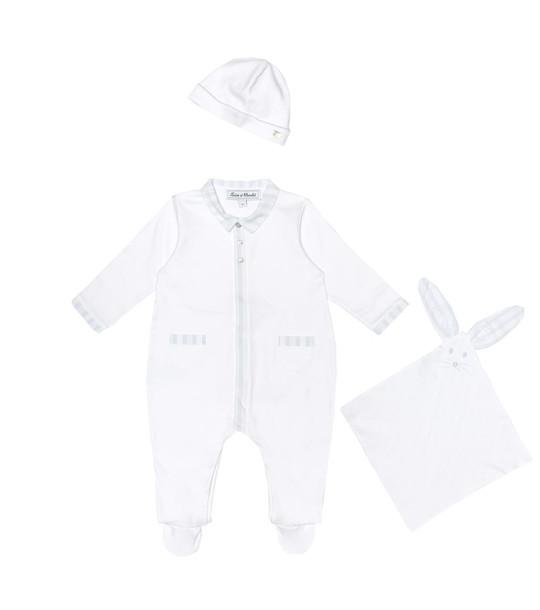 Tartine et Chocolat Baby onesie, hat and comforter set in white