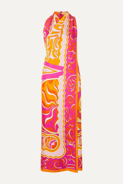 Emilio Pucci - Fringed Printed Silk Halterneck Midi Dress - Pink