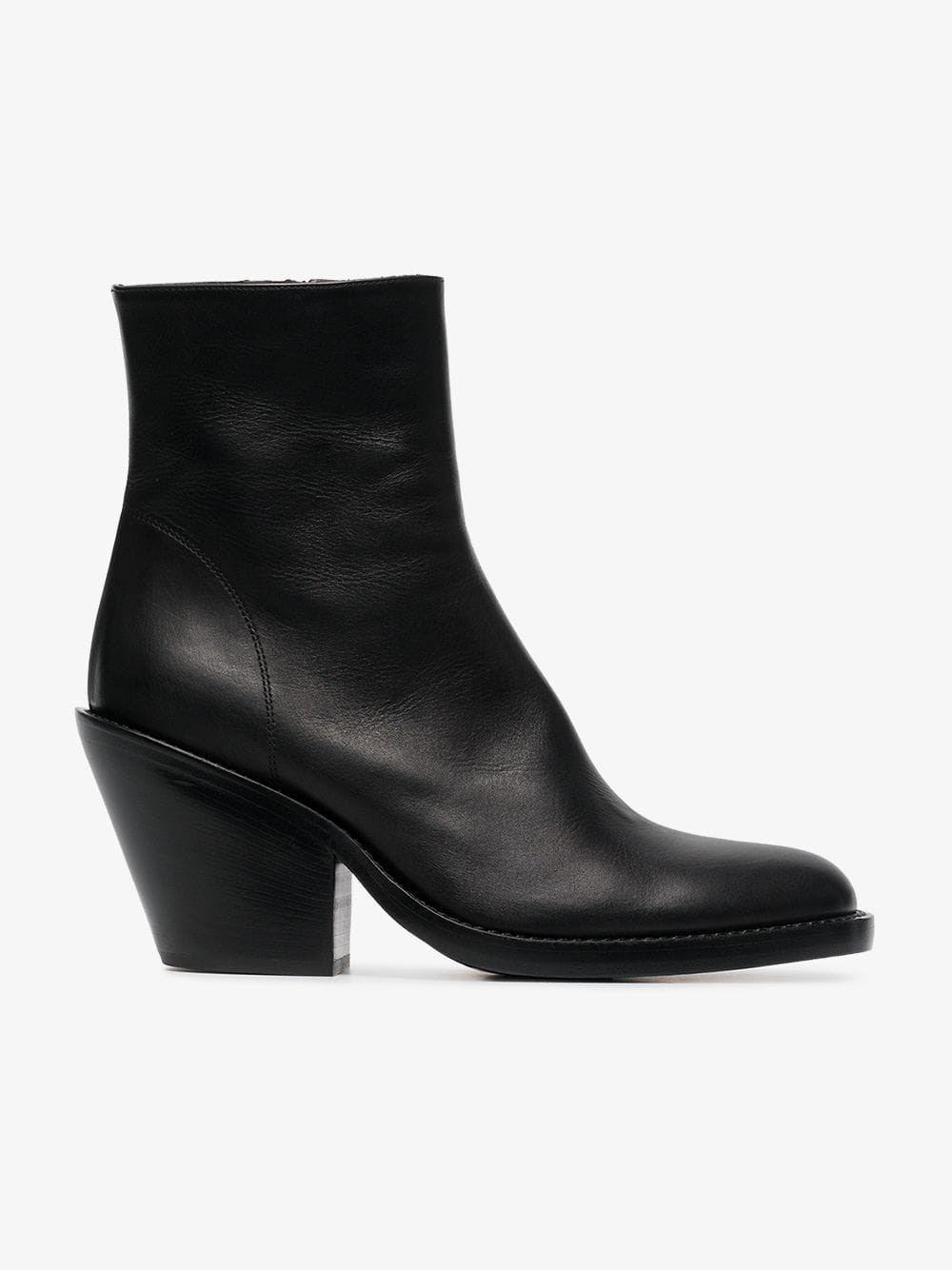 Ann Demeulemeester 80 Leather Ankle Boots in black