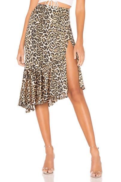 superdown Gabriela Ruffle Midi Skirt in brown