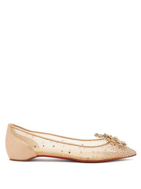 Christian Louboutin - Marenude Crystal Embellished Mesh Ballet Flats - Womens - Beige Multi