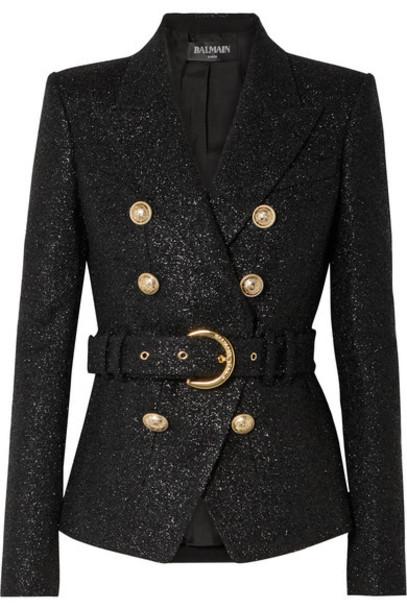 Balmain - Double-breasted Belted Metallic Wool-blend Tweed Blazer - Black