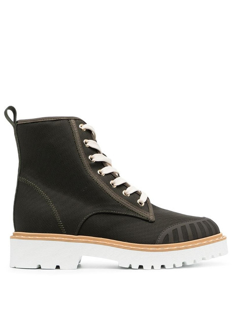 Hogan Combat lace-up boots in green