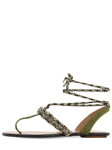 AQUAZZURA 10mm Surf Suede & Rope Thong Sandals in green