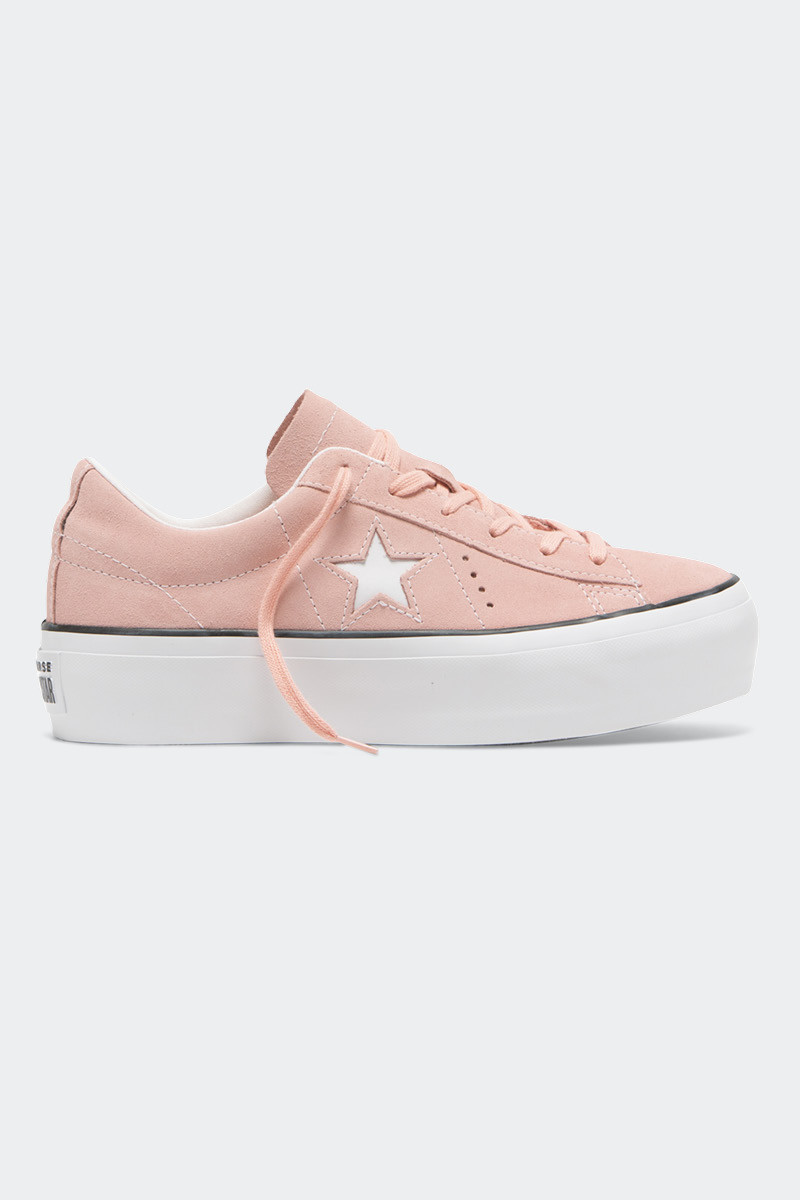 Converse One Star Platform Sneakers in Bleached Coral, Black and White