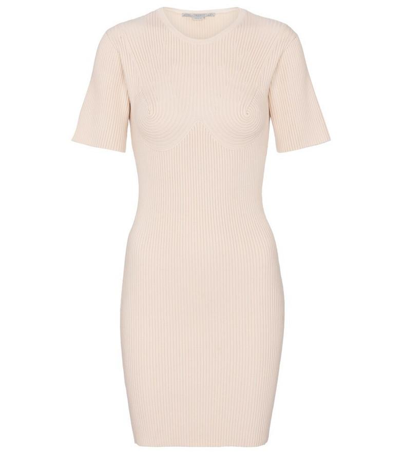 Stella McCartney Ribbed-knit cotton-blend minidress in beige