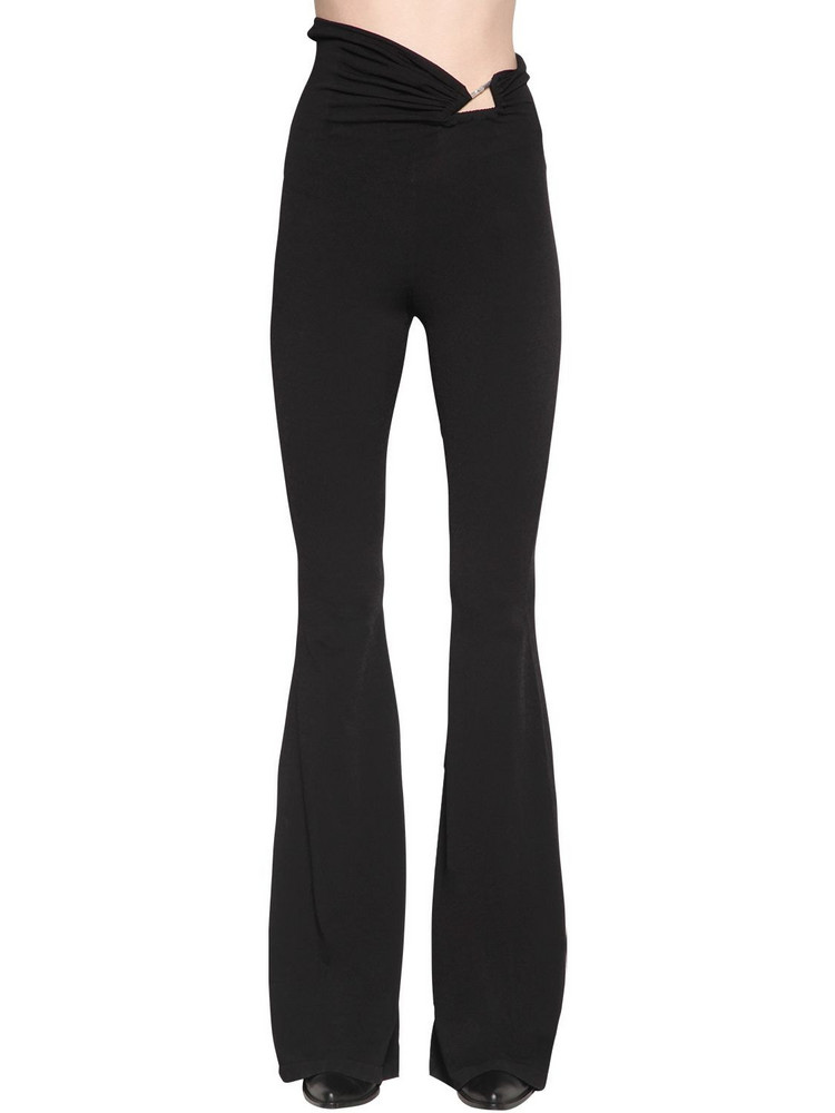 UNRAVEL Stretch Jersey Flared Pants in black
